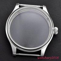Lo más nuevo de lujo de la marca superior 44mm 316L acero inoxidable endurecido de alta cubierta de calidad fit 6498 6497 eat movimiento caja de reloj
