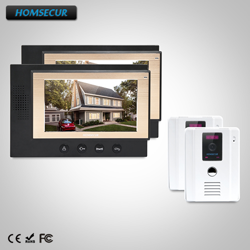 HOMSECUR 7 Wired Hands-free Video&Audio Home Intercom with IR Night Vision : TC011-W Camera+TM701-B Monitor