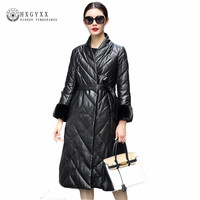 2017 Women Black Winter Coat Real Mink Fur Thick Genuine Leather Jacket Long White Duck Down Sheepskin Coats Plus Size OKB245