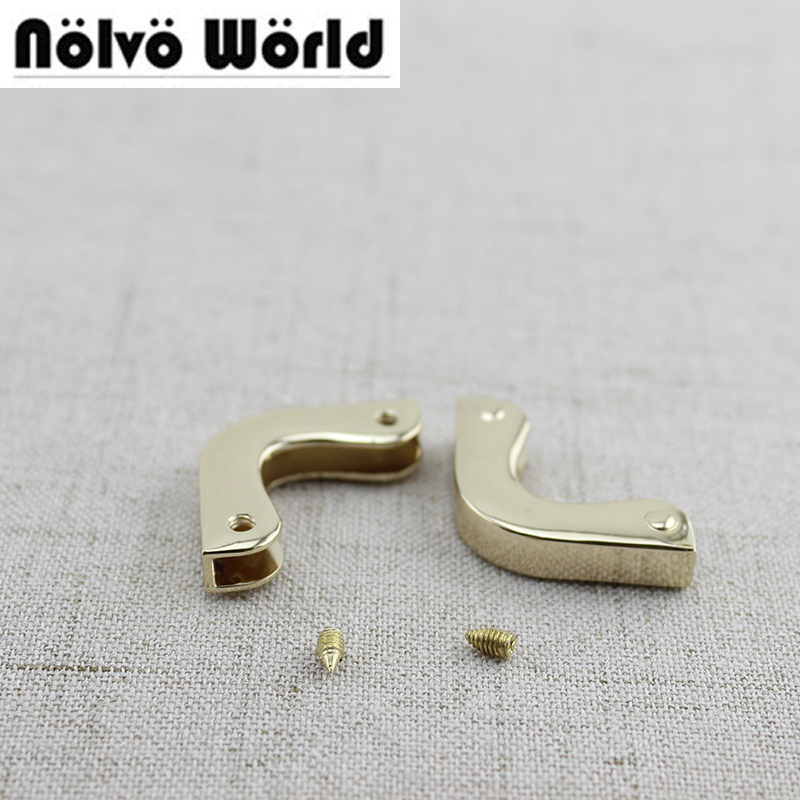 50pcs 2.5*2.5cm Light Gold Metal Bag Purse Flap Small Triangle Corner In Screws,handbags Sewing Hardware Protector Corners