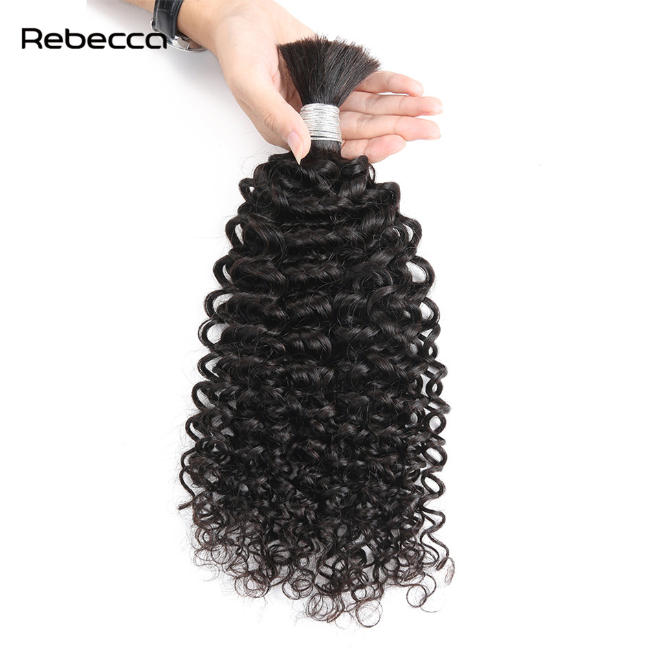 Rebecca Malaysia Non Remy Human Hair Afro Kinky Curly Color 1B 100 Bulk Hair Extensions Natural