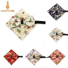2018 Brand New Men's Cotton Suits Bird Flower Bow Tie Pocket Square Set