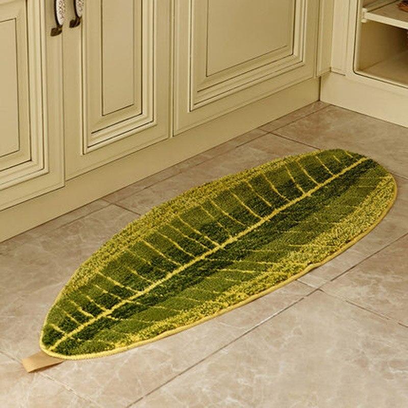 Modern Creative Leaves Kitchen Floor Rugs Large Bathroom Mats Green Doormats Livingroom Bedroom Kids Room Carpet 45*120cm