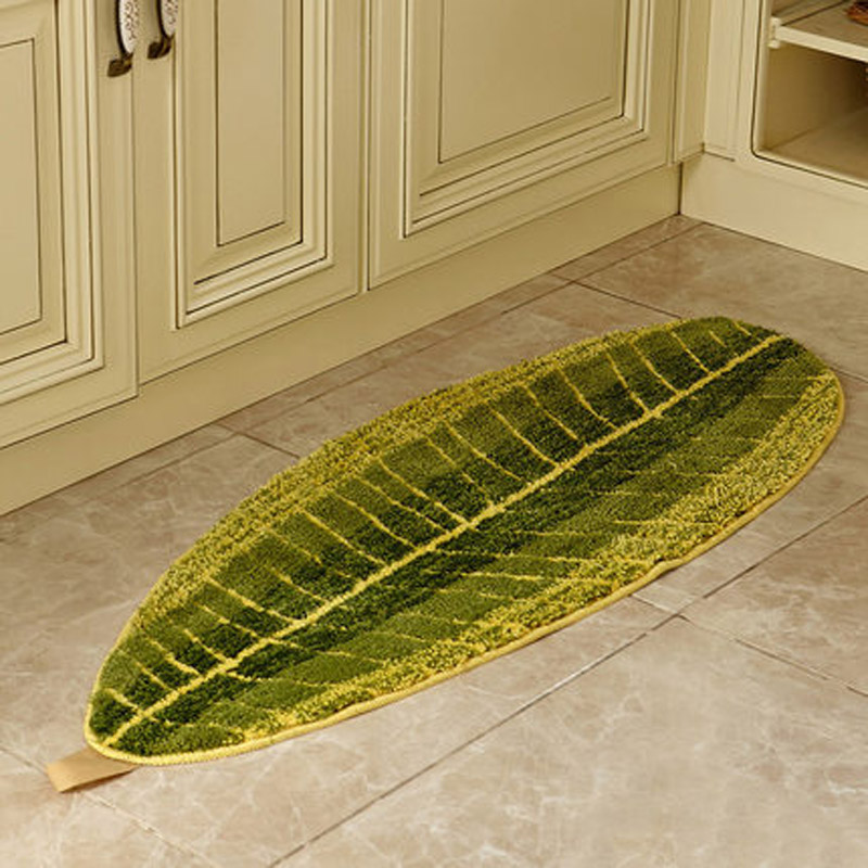 Modern Creative Leaves Kitchen Floor Rugs Large Bathroom Mats Green Doormats Livingroom Bedroom Kids Room Carpet 45 120cm