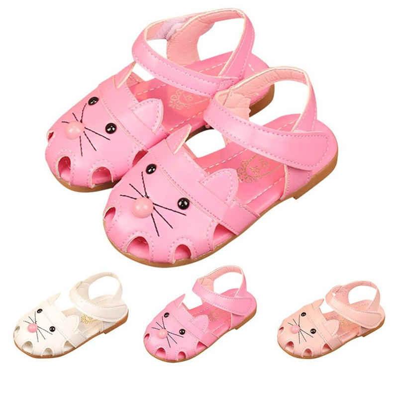 ילדים מזדמנים אופנה נעליים מזדמנים קיץ בנות ילדים תינוקות נסיכת הדפסת קריקטורה חתול הגעה לניו חמה למכור 2018