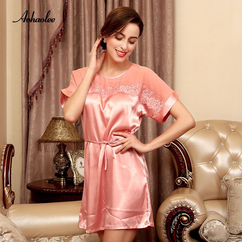 2017 Hot Sale Elegant Women's Sleepwear  Nightwear Dresses Sexy Adult Nightgowns Soft Rayon Silk Nightgowns & Sleepshirts Dress