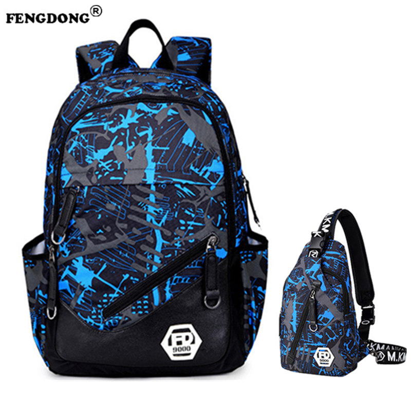 FENGDONG Men Laptop Backpack Male Backbag Brand Designer Youth Oxford Waterproof Cool College Bag Black School Bag For Teenagers fengdong men backpack oxford youth fashion brand usb charge designer back pack college bags school bag waterproof backpacks male