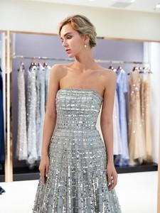 Image 5 - Luxury Bling Bling Sliver Prom Dresses 2020 A Line Strapless New Formal Long Evening Gowns vestidos de graduacion