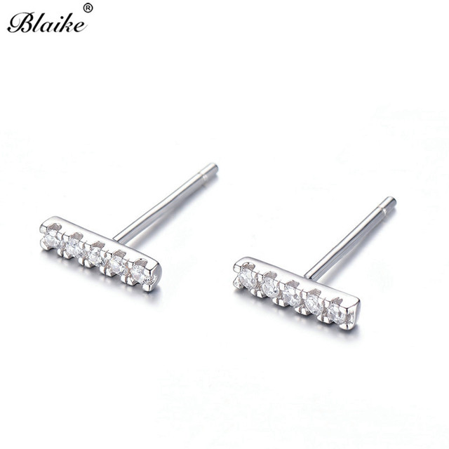 Blaike Rose Gold Filled Real 925 Sterling Silver Flat Bar Stud Earrings For Women Small Clear.jpg 640x640 - Blaike Rose Gold Filled/Real 925 Sterling Silver Flat Bar Stud Earrings For Women Small Clear Zircon Birthstone Double Studs