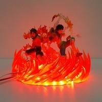 Barato Una pieza Lampara Luffy Ace fuego escena Led noche luces una pieza Anime lámpara de pie