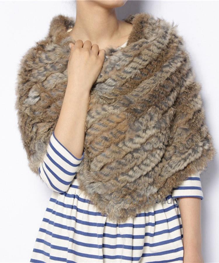 natural real knitted rabbit fur poncho shawl (13)
