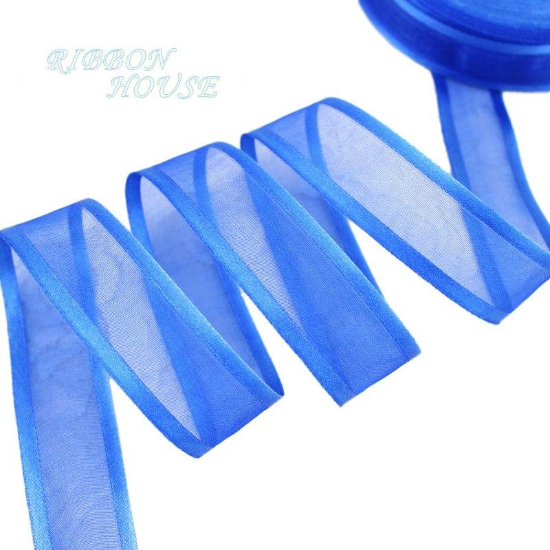 (10 ярдов/партия) 1 »(25 мм) Королевский синий broadside органза ленты оптовая продажа подарочная упаковка украшения ленты
