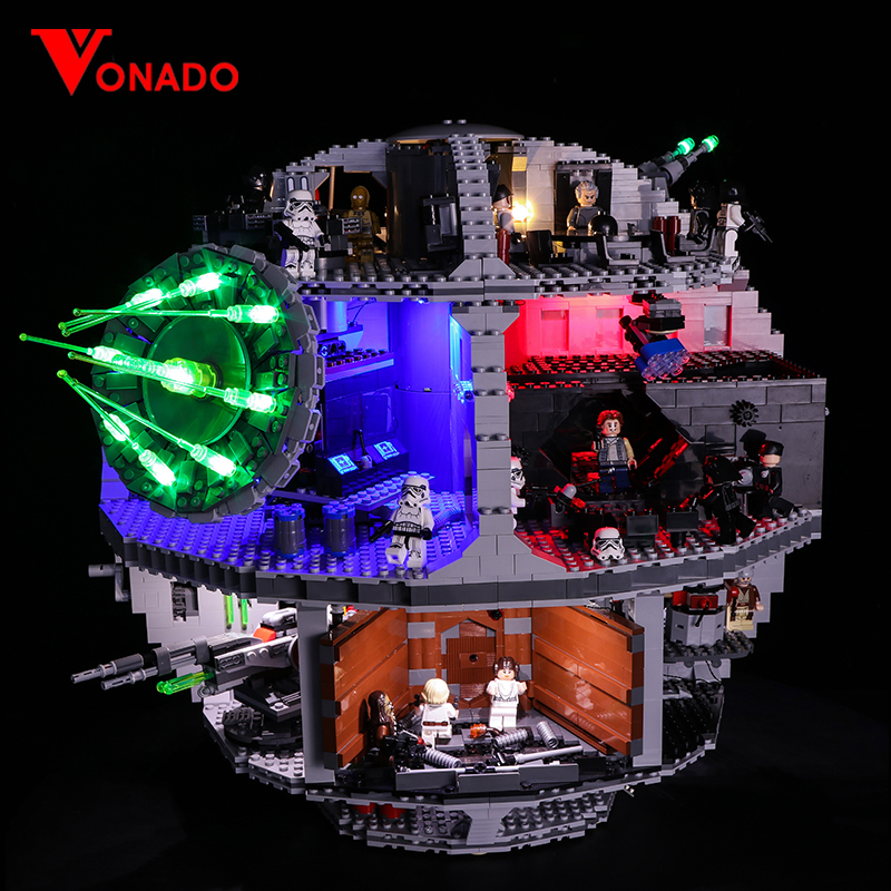 Juego de luces Led para Lego 75159 Series Star Wars Death Star Compatible con 05063 bloques de construcción de juguetes (solo luz + caja de batería)