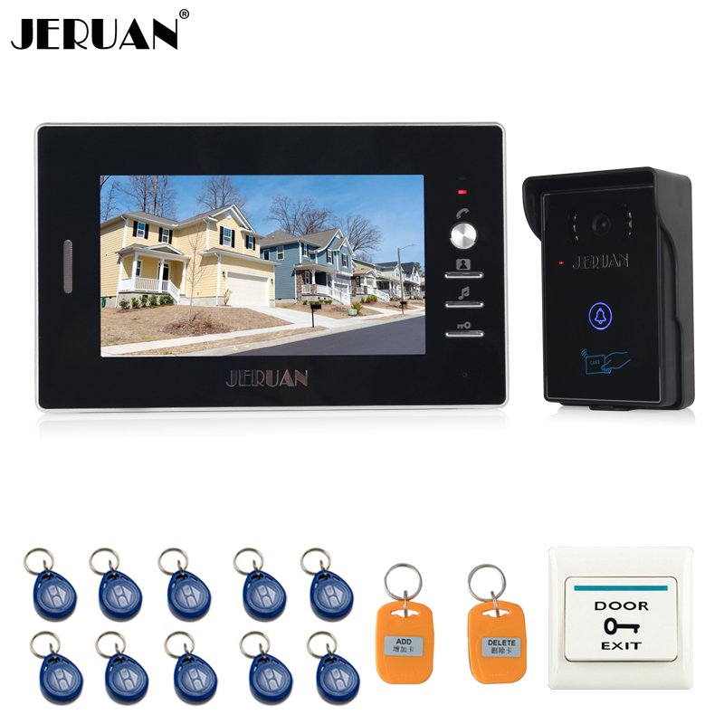 JERUAN NEW 7`` LCD Video Intercom Entry Door Phone System 700TVL Touch Key Waterproof RFID Access Camera FREE SHIPPING jeruan 7 color video door phone 700tvl coms camera access control system cathode lock free shipping