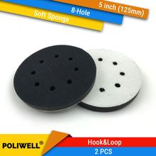 2 шт 5 дюймовые (125 мм) мягкие губки с 8 отверстиями для шлифовальных