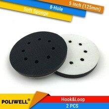 2 STUKS 5 Inch (125mm) 8 gat Zachte Spons Interface Pad voor Schuren Pads en Klittenband Schuurschijven voor Oneffen Oppervlak Polijsten