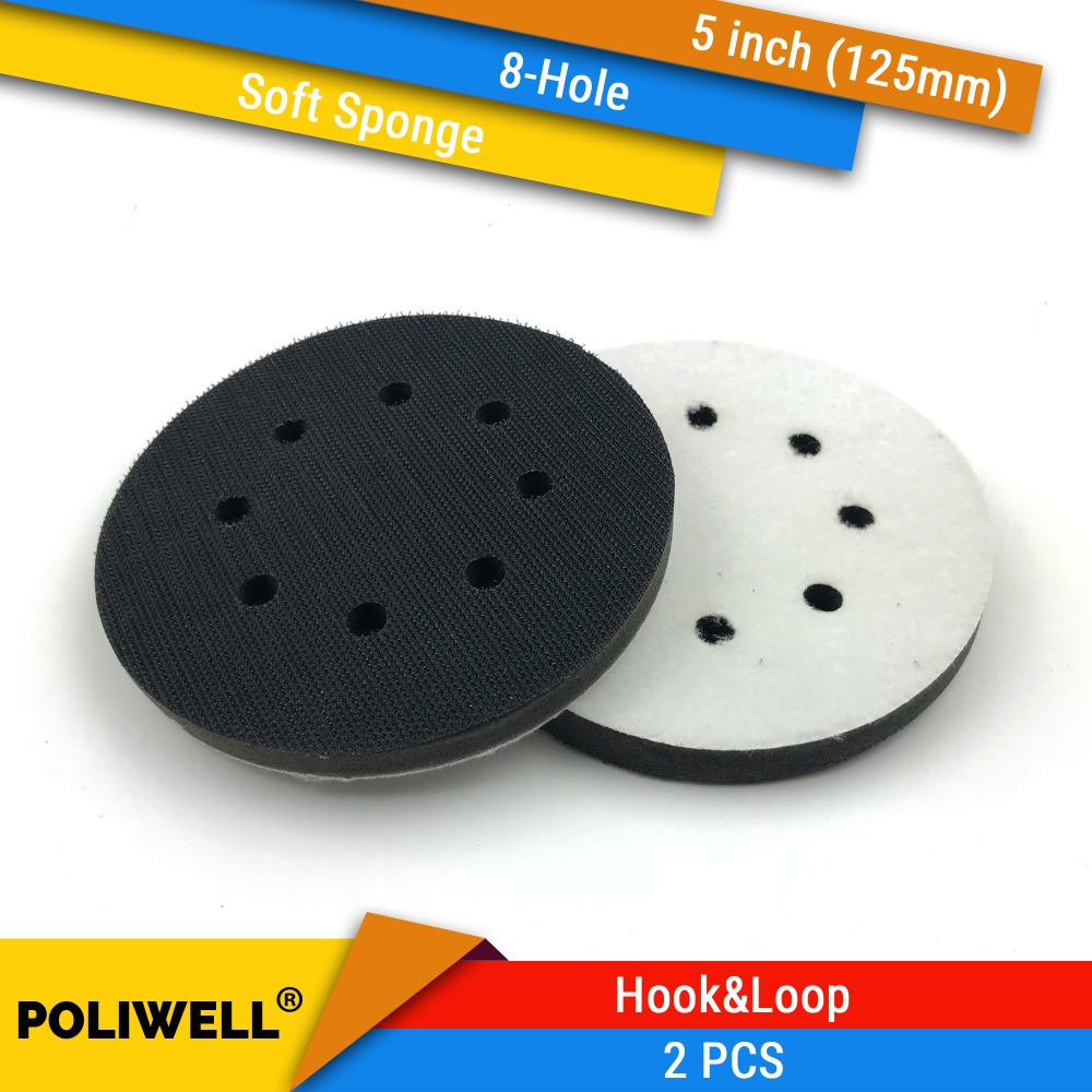 2PCS 5 Inch(125mm) 8-Hole Soft Sponge Interface Pad For Sanding Pads And Hook&Loop Sanding Discs For Uneven Surface Polishing