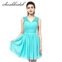376da6591d Różowy Krótki Druhna Sukienki W Stylu Vintage Lace Top V Neck Szyfonu  Modest Wedding Guest Druhna Suknie Linia Plis SD358