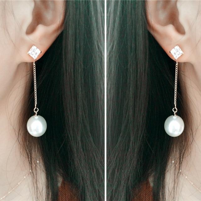 2d1155ed8ab24 US $11.8 23% OFF Imitation Pearl Earrings Drops Gold Zirconia Classic Long  Earings Fashion Jewelry 2016 New Dangle Drop Luxury Earrings For Women-in  ...