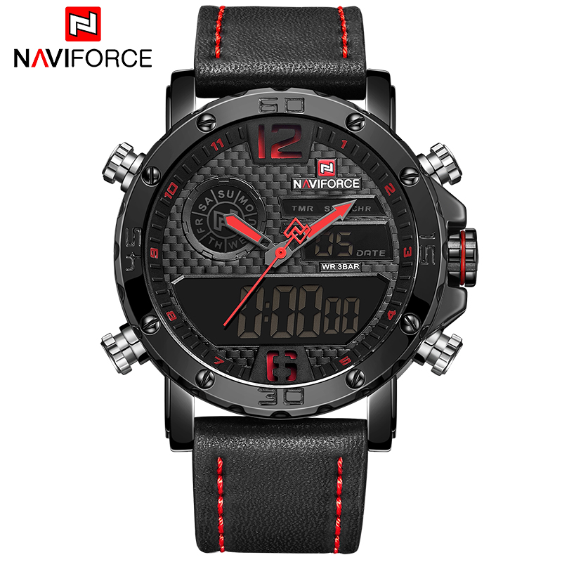 Watches Men NAVIFORCE Brand Men Sport Watch Men's Leather Quartz Military Watch Male Led Analog Digital Clock Relogio Masculino 2017 new luxury brand naviforce men leather sport military watch dual time quartz analog digital wristwatch relogio masculino
