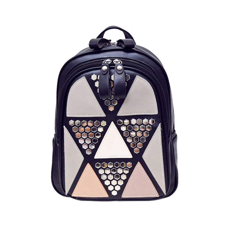 Preppy Style Female Backpack Casual Geometric Patchwork School Bags High Quality PU Leather Backpacks for Teenagers