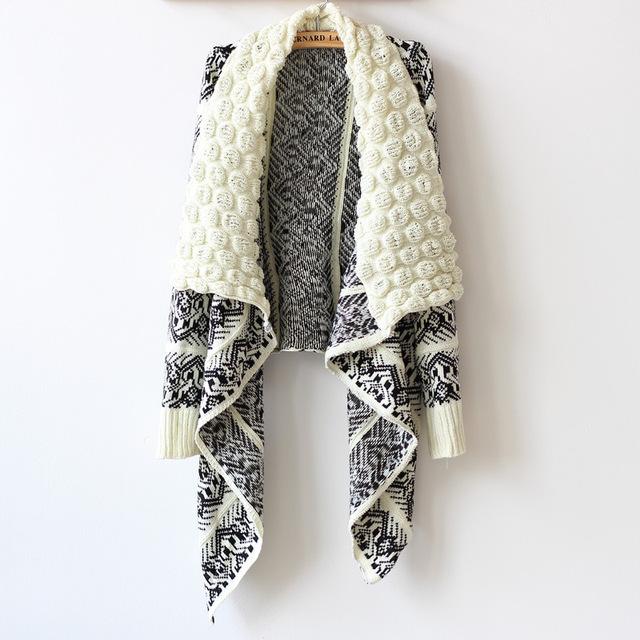 2016 Nueva Moda Otoño y El Invierno de La Moda Femenina Suéter Cardigan Mujeres Grandes Tejer Suéter de Las Mujeres Ocasionales