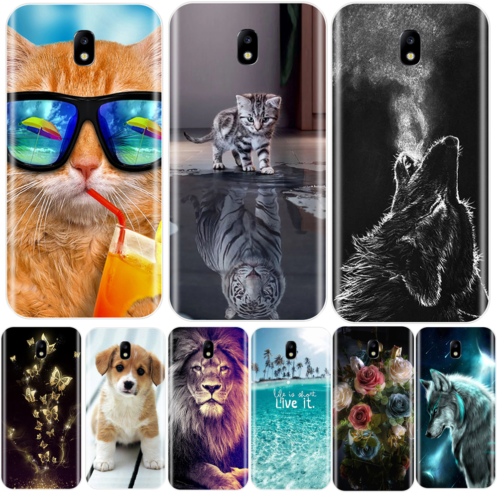 Phone Case For Samsung Galaxy J2 J5 J7 Prime Soft Silicone Cute Cat Painted Back Cover For Samsung J3 J4 J5 J6 J7 2016 2017 Case image