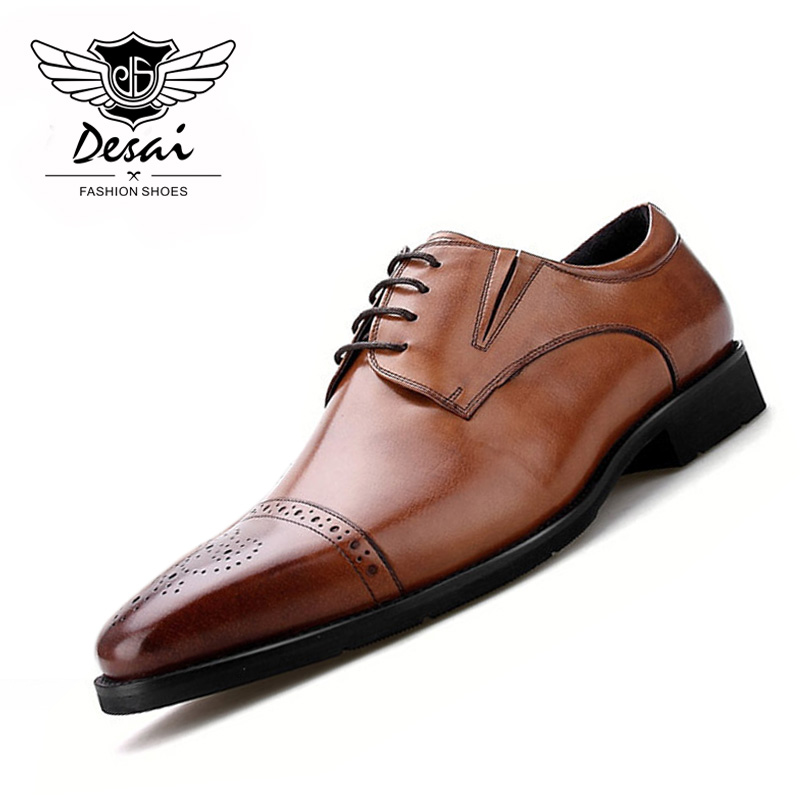 British Style Business Mens Shoes Square Toe Genuine Leather Shoes Hand-carved Shoes Mens Causal Comfortable Shoes