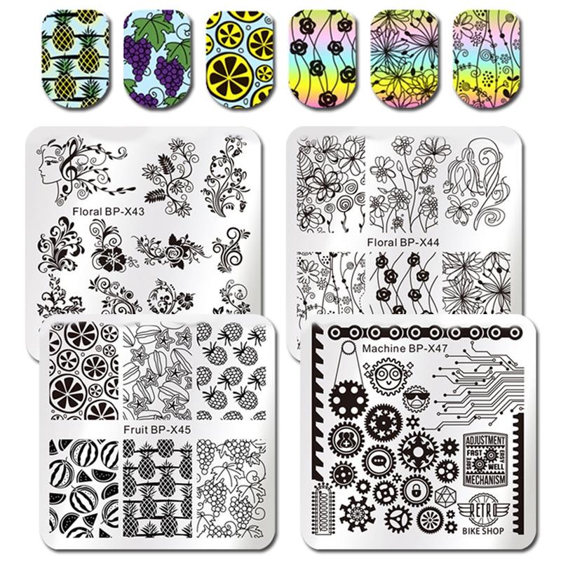 NASCIDO BONITO Rodada Stamping Placa Colar de Jóias Flor Videira Rosa Folhas Manicure Floral Nail Art Imagem Placa