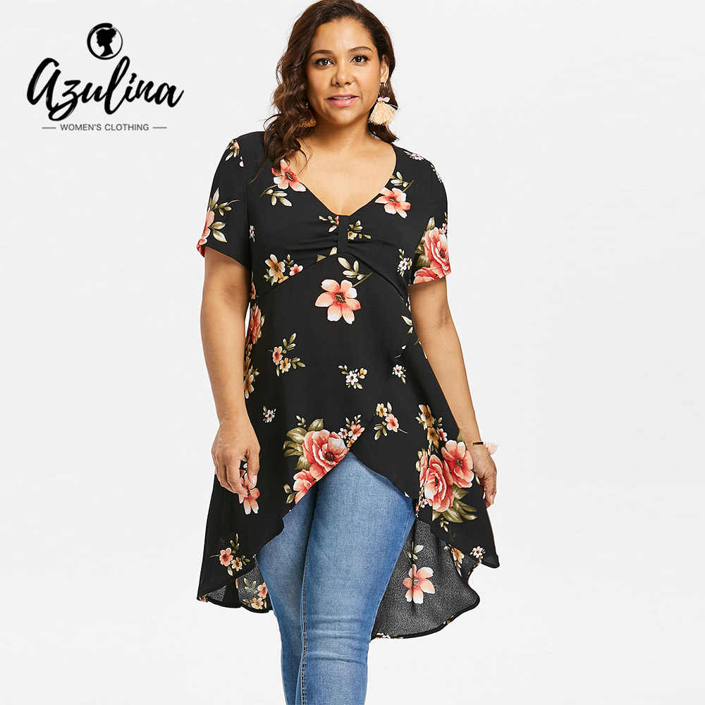 4bf389bd AZULINA Plus Size Floral Overlap High Waist Tulip Tunic Blouse Women Blouses  2018 Ladies Tops Casual