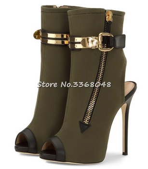 2018 New Fashion Summer Stretch Ankle Boots High Heels Slingback Stiletto Women Open Toe Gold Buckles Decor Short Boots