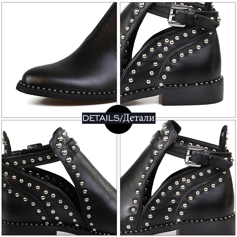 donna 2019 Stivaletti Novelty Heels Fashion Kiss Neutral Ladies Rivet Cut Open Wet Round Shoes Low Black Summer Out xYq55XOw