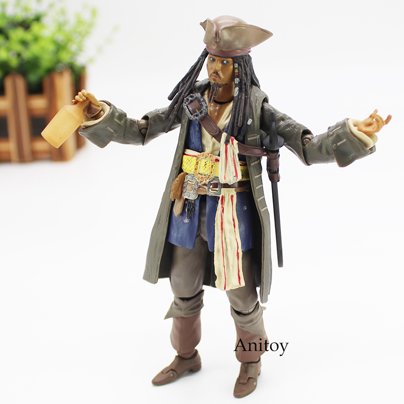 Pirates of the Caribbean Figure Captain Jack Sparrow Action Figure SHFiguarts Toy 15cm KT4584