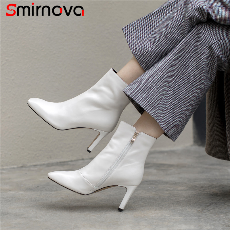 Smirnova HOT SALE 2018 sexy genuine leather woman boots super high heel classic white ankle boots autumn zipper boots ladies