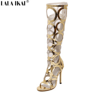 2016 New Sexy Kneed High Gladiator Sandals Women Cut Outs High Heels 11 Cm PU Leather