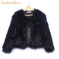 Ins Stylish Fur Jackets For Girls Winter Kids Jackets And Coats Waterfall Baby Girls Faux Fur