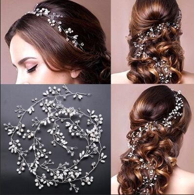 2018 Charm Floral Headbands Pearl Crystal Beads Long Bridal Hairbands Headdress  Wedding Hair Accessories Bride Tiara 3ea0014277