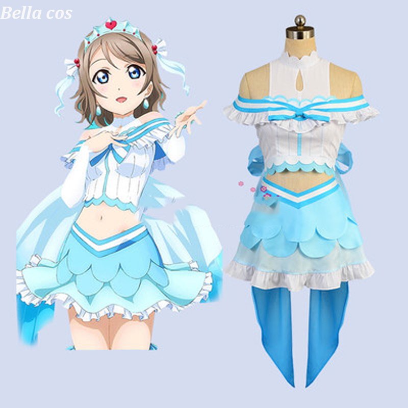 Custom size LoveLive Sunshine Aqours Watanabe You cosplay costume Aquarium dress Halloween costumes for women Anime clothes cos