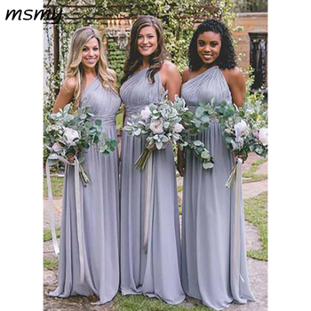 New Simple One-Shoulder A Line Floor-Length Open Back Chiffon Bridesmaid Dressese Party Prom Dresses Custom Made Custom Made