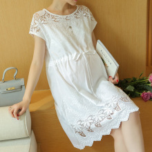 Maternity Clothes Fashion Summer New Arrival Hollow Lace White font b Dress b font for Pregnant