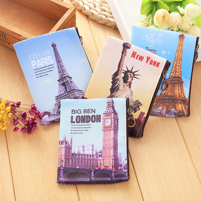 Metropolis City Paris London New York Coin Purse Pouch Case Bag Tower Print Mini Storage Holders Case Container Zipper Wallets puzzles alatoys pzl1006 play children educational busy board toys for boys girls lace maze