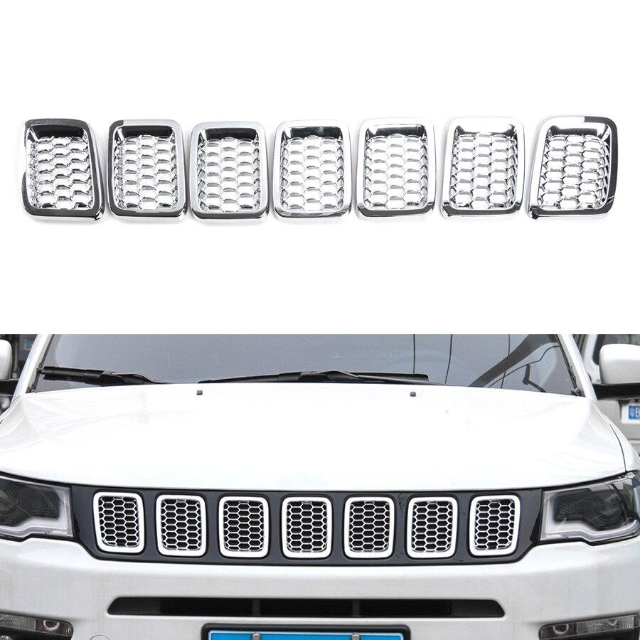 YAQUICKA 7pcs/набор автомобиля передняя решетка решетки вентиляционные сетки Вставить комплект стайлинг накладка для джип Компас 2017+ внешние аксессуары автомобиля-крышка