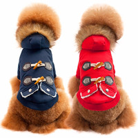2017 Fur Collar Ox Horn Button Warm With Thick Coat Sweater Clothes Apparel Buttons Red Hoodie
