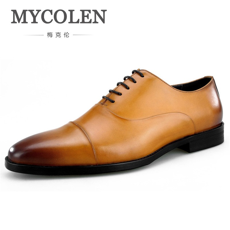 MYCOLEN 2018 Designer Wedding Shoes Man Leather Oxford Shoes For Men Formal Mariage Mens Pointed Toe Dress Shoes Sapato