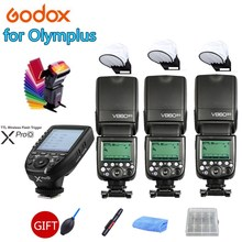 3X Godox VING V860IIO 2.4G Wireless TTL Li-ion Camera Flash Master Slave Flash Speedlite + Xpro-O for Olympus Panasonic Camera цена и фото