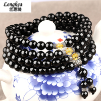 Free shipping,Black tourmaline 108 beads male nd female bracelet lovers lucky bracelets fashion accessories crystal,lovers gift