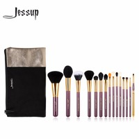 Jessup 15pcs Beauty Makeup Brushes Set Brush Tool Purple And Gold T095 Cosmetics Bags Women Bag