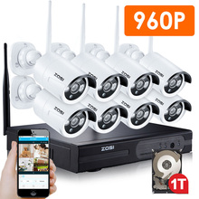 ZOSI 8CH CCTV System Wireless 960P NVR 8PCS 1.3MP IR Outdoor P2P Wifi IP CCTV Security Camera System Surveillance Kit 1TB HDD