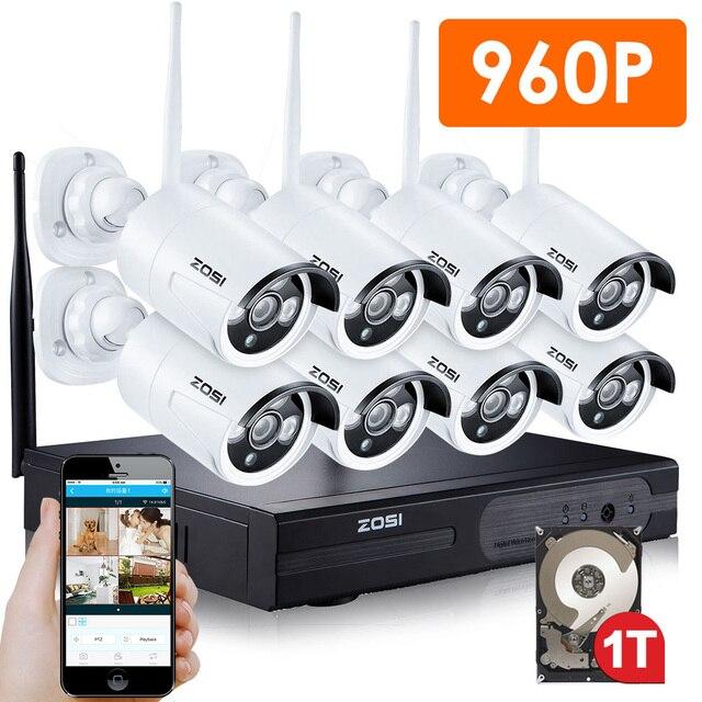 Zosi 8ch sistema cctv wireless 960 p nvr 8 unids 1.3mp ir al aire libre P2P Wifi IP CCTV Sistema de Vigilancia de Cámaras de Seguridad Kit de 1 TB HDD
