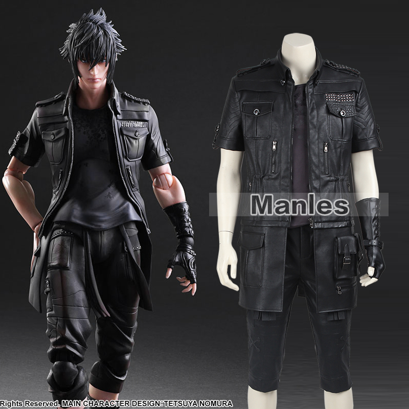 Final Fantasy XV Noctis Lucis Caelum Cosplay Costume Adult Men Anime Game Costume Cosplay Black Jacket Full Set Custom Made Male
